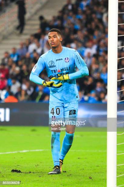 Alban Lafont of Toulouse during the Ligue 1 match between Olympique Marseille and Toulouse at Stade Velodrome on September 24 2017 in Marseille France