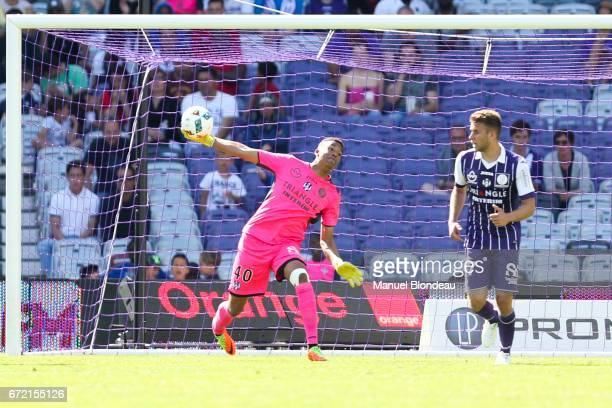 Alban Lafont of Toulouse during the Ligue 1 match between Toulouse FC and OGC Nice at Stadium Municipal on April 23 2017 in Toulouse France