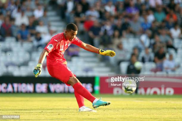 Alban Lafont of Toulouse during the Ligue 1 match between Toulouse FC and Montpellier Herault SC at Stadium Municipal on August 12 2017 in Toulouse