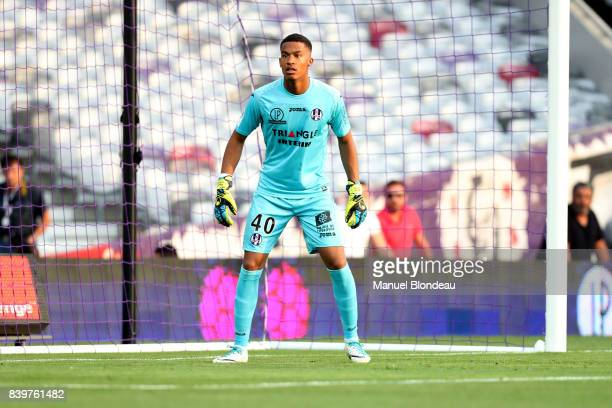Alban Lafont of Toulouse during the Ligue 1 match between Toulouse and Stade Rennais at Stadium Municipal on August 26 2017 in Toulouse