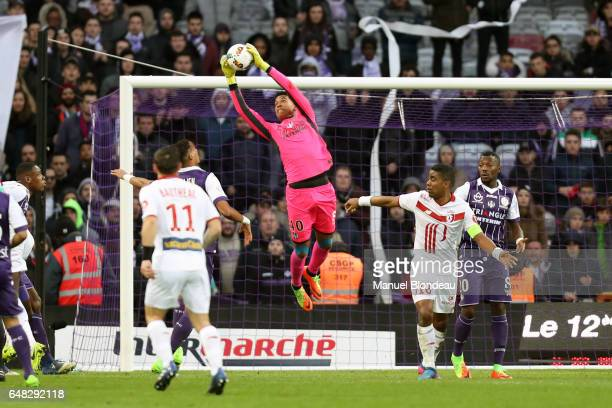 Alban Lafont of Toulouse makes a save during the French Ligue 1 match between Toulouse and Lille at Stadium Municipal on March 5 2017 in Toulouse...