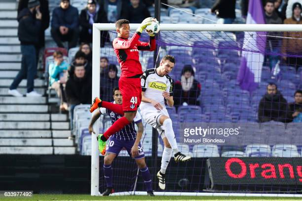 Alban Lafont of Toulouse makes a save during the Ligue 1 match between Toulouse Fc and Angers Sco at Stadium Municipal on February 5 2017 in Toulouse...