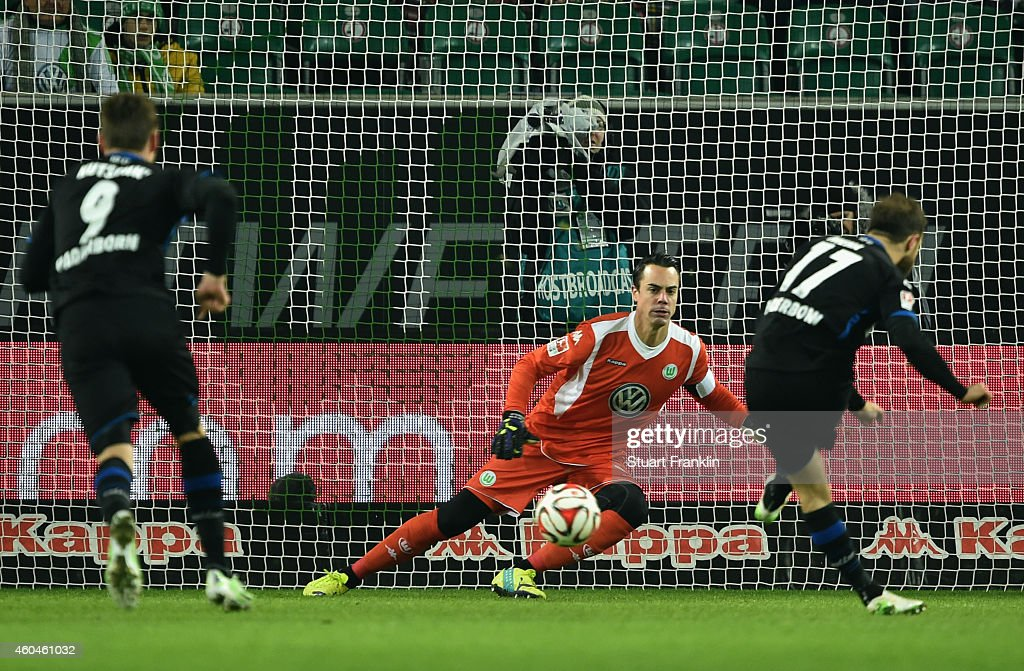 Alban Meha #17 of Paderborn scores his team's first goal with a penalty against goalkeeper <a gi-track='captionPersonalityLinkClicked' href=/galleries/search?phrase=Diego+Benaglio&family=editorial&specificpeople=543817 ng-click='$event.stopPropagation()'>Diego Benaglio</a> of Wolfsburg during the Bundesliga match between VfL Wolfsburg and SC Paderborn 07 at Volkswagen Arena on December 14, 2014 in Wolfsburg, Germany.