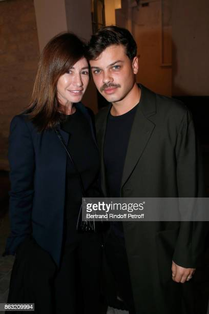 Albane Cleret and stylist Hugo Matha attend the Art Exhibition Reflexion Redux of Benjamin Millepied and Barbara Kruger at Studio des Acacias on...