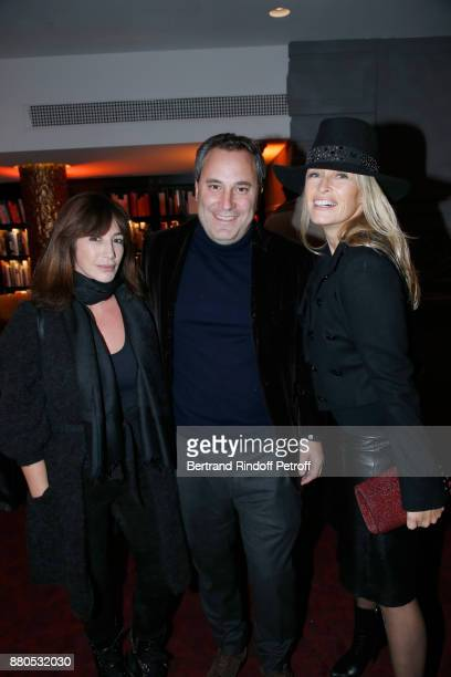 Albane Cleret Benjamin Patou and Estelle Lefebure attend the Inauguration of the 'Chalet Les Neiges 1850' on the terrace of the Hotel 'Barriere Le...