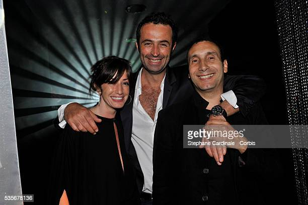 Albane Cleret Zinedine Soualem and Christophe Robert attend a party at Jimmy'z during the 61st Cannes Film Festival