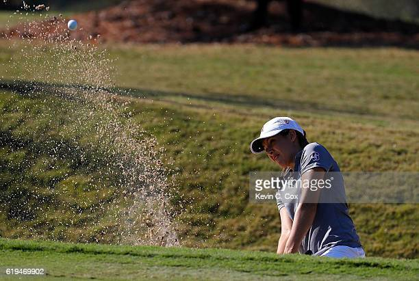 Albane Valenzuela of Stanford chips out of the trap on the first hole during day 1 of the 2016 East Lake Cup at East Lake Golf Club on October 31...