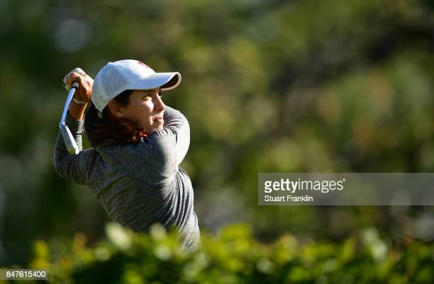 Albane Valenzuela of Switzerland plays a shot during the weather delayed first round of The Evina Championship at Evian Resort Golf Club on September...