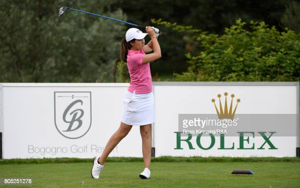Albane Valenzuela of the Continent of Europe team in action during the singles matches in the Vagliano Trophy at Golf Club Bogogno on July 1 2017 in...