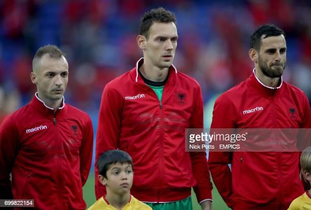 Albania goalkeeper Etrit Berisha Albania's Ansi Agolli and Albania's Mergim Mavraj lineup before kickoff