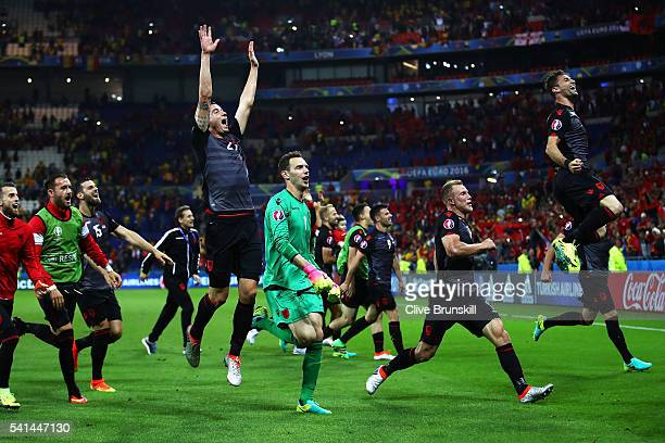 Albania players celerbate their 10 win in the UEFA EURO 2016 Group A match between Romania and Albania at Stade des Lumieres on June 19 2016 in Lyon...