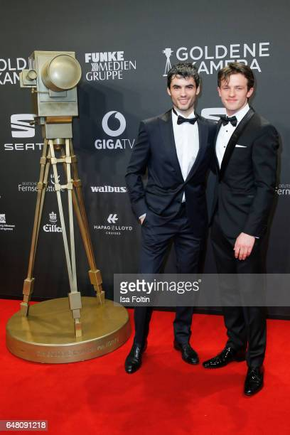 Albanian actor Nik Xhelilaj and german actor Jannis Niewoehner arrive for the Goldene Kamera on March 4 2017 in Hamburg Germany