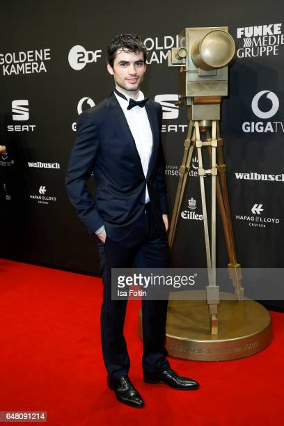 Albanian actor Nik Xhelilaj arrives for the Goldene Kamera on March 4 2017 in Hamburg Germany