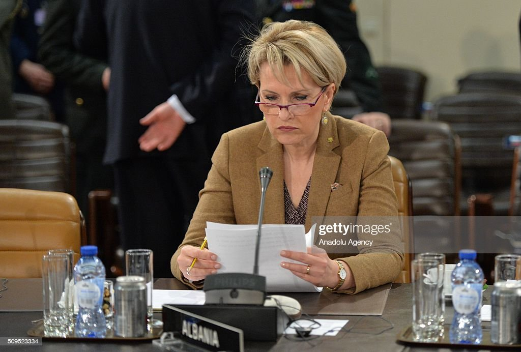 Albanian Defense Minister Mimi Kodheli attends the NATO Defence Ministers Meeting which is being held in Brussels, Belgium on February 11, 2016.