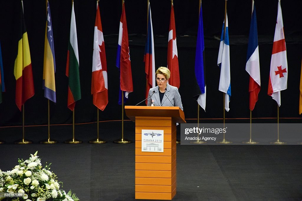 Albanian Defense Minister Mimi Kodheli delivers a speech during the 'Defense and Security Commission Panel' as part of the NATO Parliamentary Assembly Spring session in Tirana, Albania on May 29, 2016.
