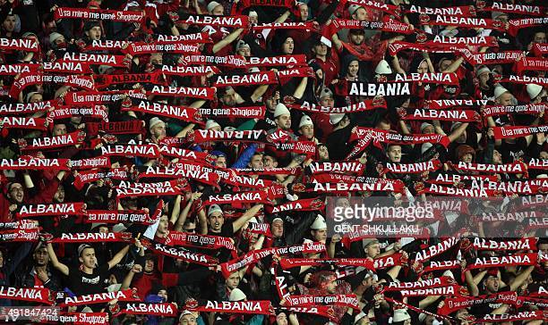 Albanian fans cheers prior of the Euro 2016 Group I qualifying football match between Albania and Serbia in Elbasan on October 8 2015 Some 2300...