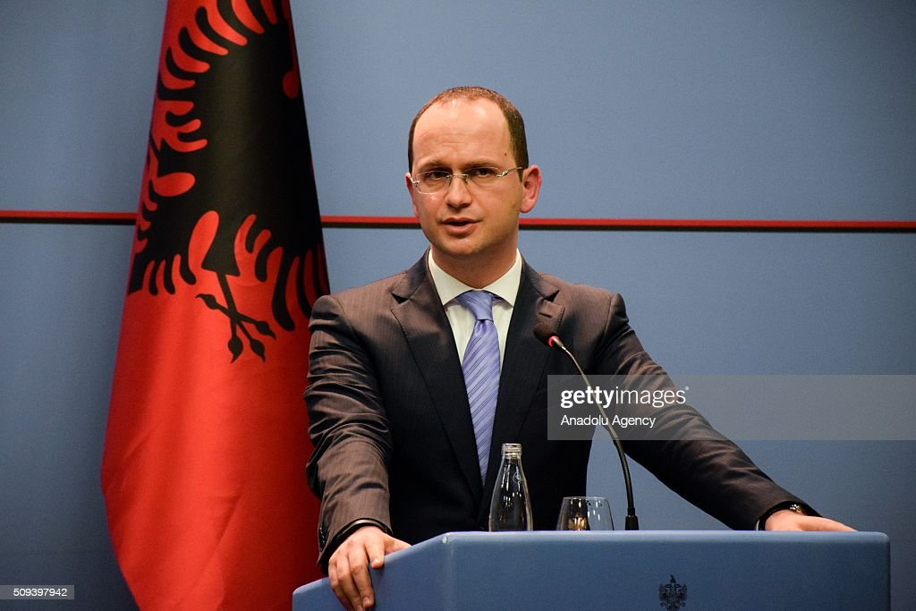 Albanian Foreign Minister Ditmir Bushati delivers a speech during a joint press conference with Austria's Minister for Foreign Affairs and Integration, Sebastian Kurz (not seen) in Tirana, Albania on February 10, 2016.