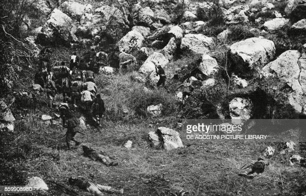 Albanian irregular bands on the assault on the mountains of the high Osum Albania World War I from l'Illustrazione Italiana Year XLV No 29 July 21...