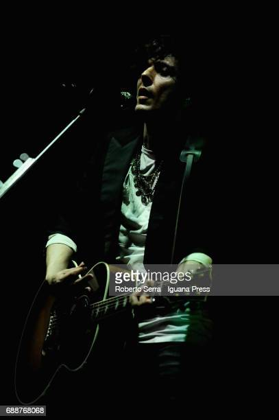 Albanian musician and author Ermal Meta performs in at Duse Teather on May 25 2017 in Bologna Italy