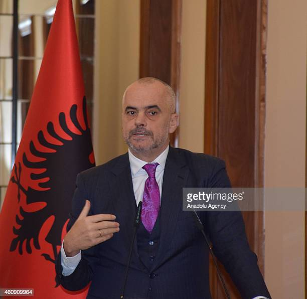 Albanian Prime Minister Edi Rama and his Italian counterpart Matteo Renzi attend a joint press conference following their meeting in Tirana Albania...