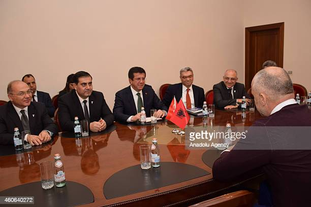 Albanian Prime Minister Edi Rama and Turkish Economy Minister Nihat Zeybekci attend a meeting within Zeybekci's official visit in Tirana Albania on...
