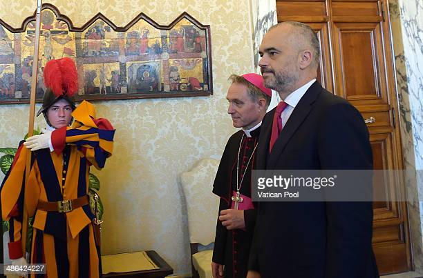 Albanian Prime Minister Edi Rama flanked by Prefect of the Pontifical House and former personal secretary of Pope Benedict XVI Georg Ganswein arrives...