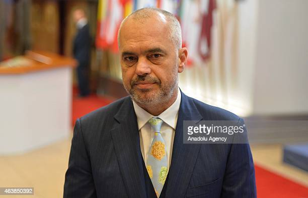 Albanian Prime Minister Edi Rama holds a press conference after meeting European Council President Donald Tusk at the EU Headquarters in Brussels...