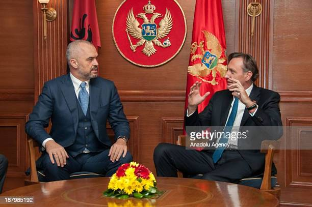 Albanian Prime Minister Edi Rama meets with Prime Minister of Montenegro Milo Dukanovic during his visit on November 14 2013 in Podgorica Montenegro