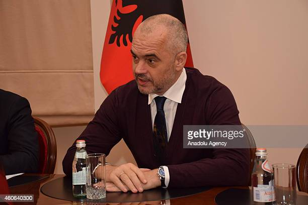 Albanian Prime Minister Edi Rama speaks during a meeting with Turkish Economy Minister Nihat Zeybekci within Zeybekci's official visit in Tirana...