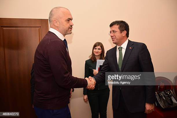 Albanian Prime Minister Edi Rama welcomes Turkish Economy Minister Nihat Zeybekci before their meeting within Zeybekci's official visit in Tirana...