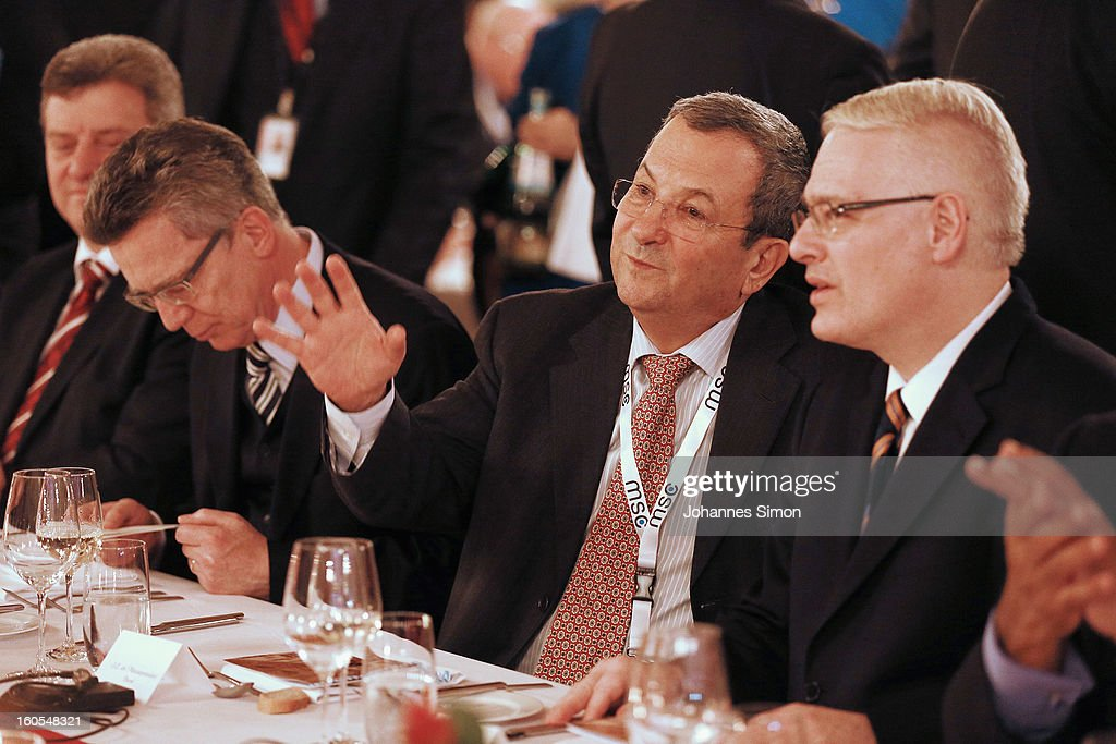 Albanian prime minister <a gi-track='captionPersonalityLinkClicked' href=/galleries/search?phrase=Sali+Berisha&family=editorial&specificpeople=569802 ng-click='$event.stopPropagation()'>Sali Berisha</a>, German defense minister <a gi-track='captionPersonalityLinkClicked' href=/galleries/search?phrase=Thomas+de+Maiziere&family=editorial&specificpeople=618845 ng-click='$event.stopPropagation()'>Thomas de Maiziere</a>, Israelian defense minister <a gi-track='captionPersonalityLinkClicked' href=/galleries/search?phrase=Ehud+Barak&family=editorial&specificpeople=202888 ng-click='$event.stopPropagation()'>Ehud Barak</a> and Croatian president <a gi-track='captionPersonalityLinkClicked' href=/galleries/search?phrase=Ivo+Josipovic&family=editorial&specificpeople=6599425 ng-click='$event.stopPropagation()'>Ivo Josipovic</a> attend a gala dinner for the participants of the Munich conference at Munich royal residence on security policy on February 2, 2013 in Munich, Germany. The Munich Security Conference brings together senior figures from around the world to engage in an intensive debate on current and future security challenges and remains the most important independent forum for the exchange of views by international security policy decision-makers.