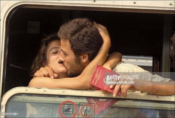 Albanian refugees arrive In Brindisi Italy On July 13 1990