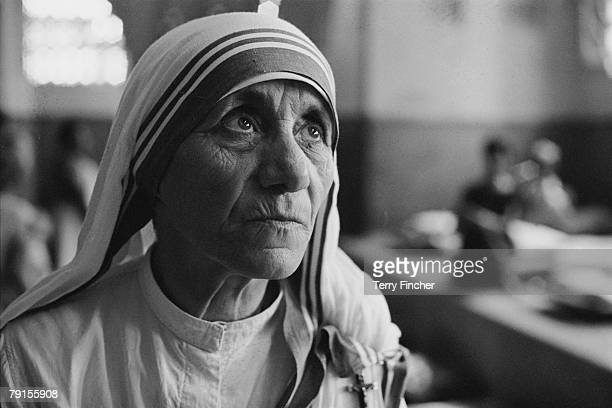Albanian Roman Catholic nun and founder of the Missionaries of Charity Mother Teresa at a hospice for the destitute and dying in Kolkata India 1969