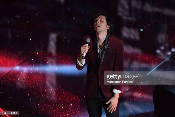 Albanian singer Ermal Meta performs at 67th Sanremo Music Festival 4th Night Sanremo February 10 2017