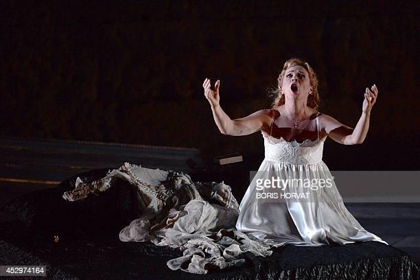 Albanian soprano Inva Mula as Desdemona performs during the rehearsal of the opera 'Otello' by Italian composer Giuseppe Verdi directed by...
