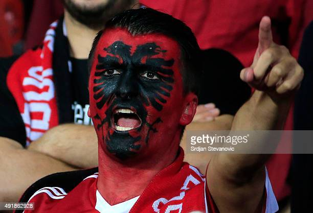 Albania's fan cheers their team before the UEFA EURO 2016 qualifier between Albania and Serbia at the Elbasan Arena on October 08 2015 in Elbasan...