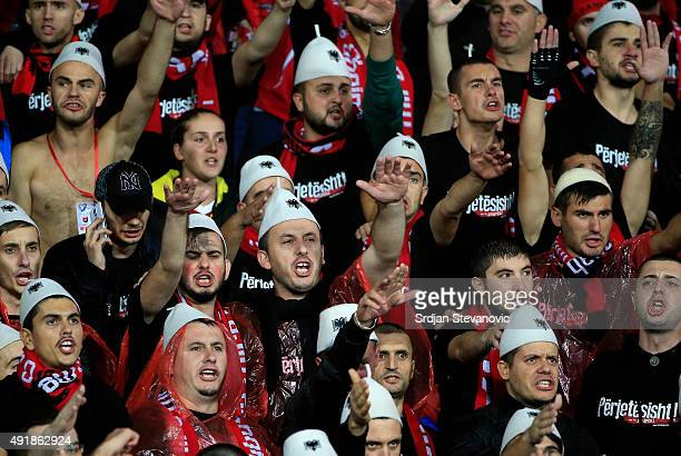 Albania's fans cheer their team before the UEFA EURO 2016 qualifier between Albania and Serbia at the Elbasan Arena on October 08 2015 in Elbasan...