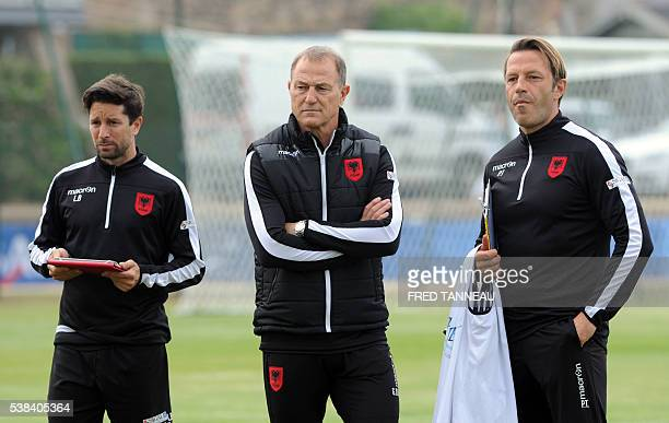 Albania's head coach Gianni De Biasi together with assistant coach Paolo Tramezzani attends a training session of the national football team at their...