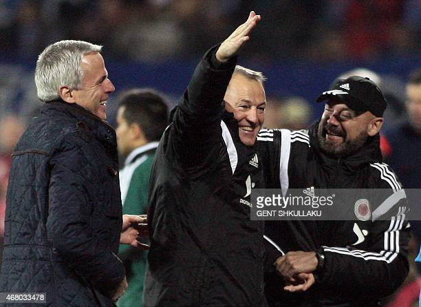 Albania's head coach Giovanni De Biasi celebrates at the end of the Euro 2016 qualifying football match between Albania and Armenia on March 29 at...