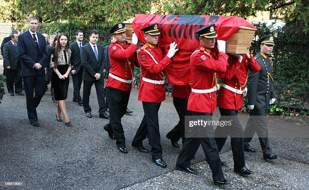 Albania's honour guards carry the coffin with the remains of Albania's self-proclaimed king, Zog I, arrived back in his home country today from France, where he died in exile in 1961, for reburial, on November 16, 2012 in Tirana. Zog's remains are due to be buried in a newly built mausoleum for the royal family in an official ceremony on November 17.