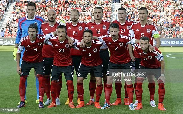 Albania's midfielder Elseid Hysaj Albania's Ergys Kace Albania's midfielder Naser Aliji Albania's defender Andi Lila Albania's defender Ermir Lenjani...