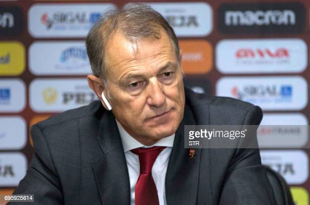 Albania's national soccer team coach Italian Gianni De Biasi announces his resignation during a press conference in Tirana on June 2017 De Biasi...