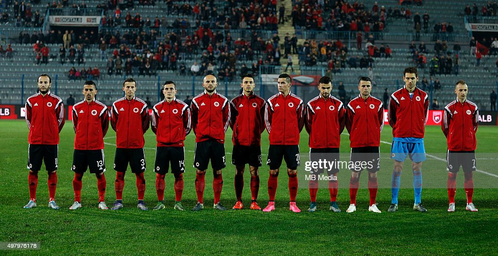 Albania's National soccer team players line up prior to the International friendly soccer match Albania vs Georgia held in Tirana Albania on 16...