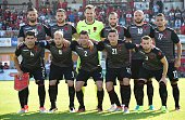 Albania's players pose for a team picture ahead the friendly football match between Albania and Qatar in Hartberg Austria on May 29 2016 / AFP / JOE...