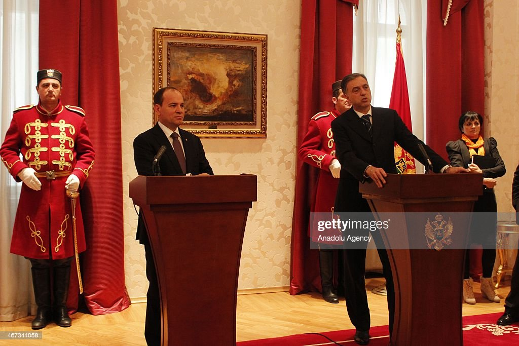 Albania's President Bujar Nishani (L) and Montenegro's President <a gi-track='captionPersonalityLinkClicked' href=/galleries/search?phrase=Filip+Vujanovic&family=editorial&specificpeople=596296 ng-click='$event.stopPropagation()'>Filip Vujanovic</a> (R) hold a joint press conference after a meeting in Cetinje, Montenegro on March 23, 2015.