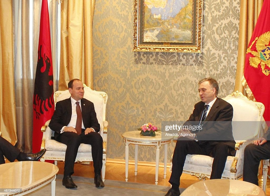 Albania's President Bujar Nishani (L) and Montenegro's President <a gi-track='captionPersonalityLinkClicked' href=/galleries/search?phrase=Filip+Vujanovic&family=editorial&specificpeople=596296 ng-click='$event.stopPropagation()'>Filip Vujanovic</a> (R) poses before a meeting in Cetinje, Montenegro on March 23, 2015.