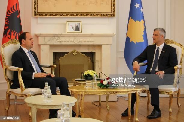 Albania's President Bujar Nishani meets with President of Kosovo Hashim Thaci in Pristina Kosovo on May 11 2017