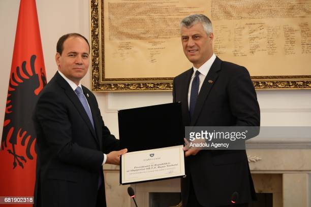 Albania's President Bujar Nishani meets with President of Kosovo Hashim Thaci during his official visit in Pristina Kosovo on May 11 2017