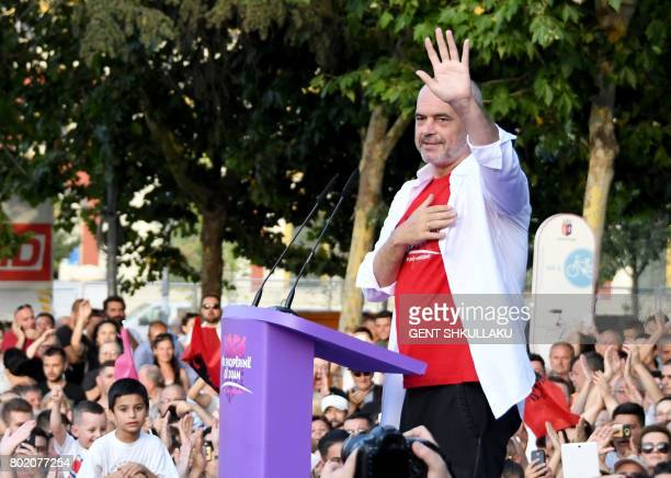 Albania's Prime Minister Edi Rama gestures during a victory speech on June 27 2017 in Tirana following June 25 general elections resulting in an...