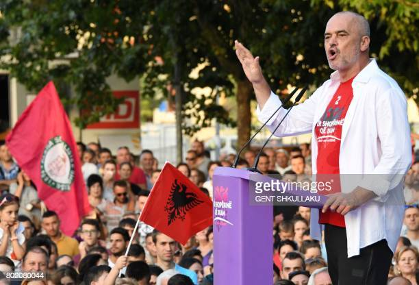 Albania's Prime Minister Edi Rama reacts during a victory rally on June 27 2017 in Tirana following June 25 general elections resulting in an...